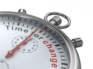 Time for change. Stopwatch on white background. Isolated 3D imag